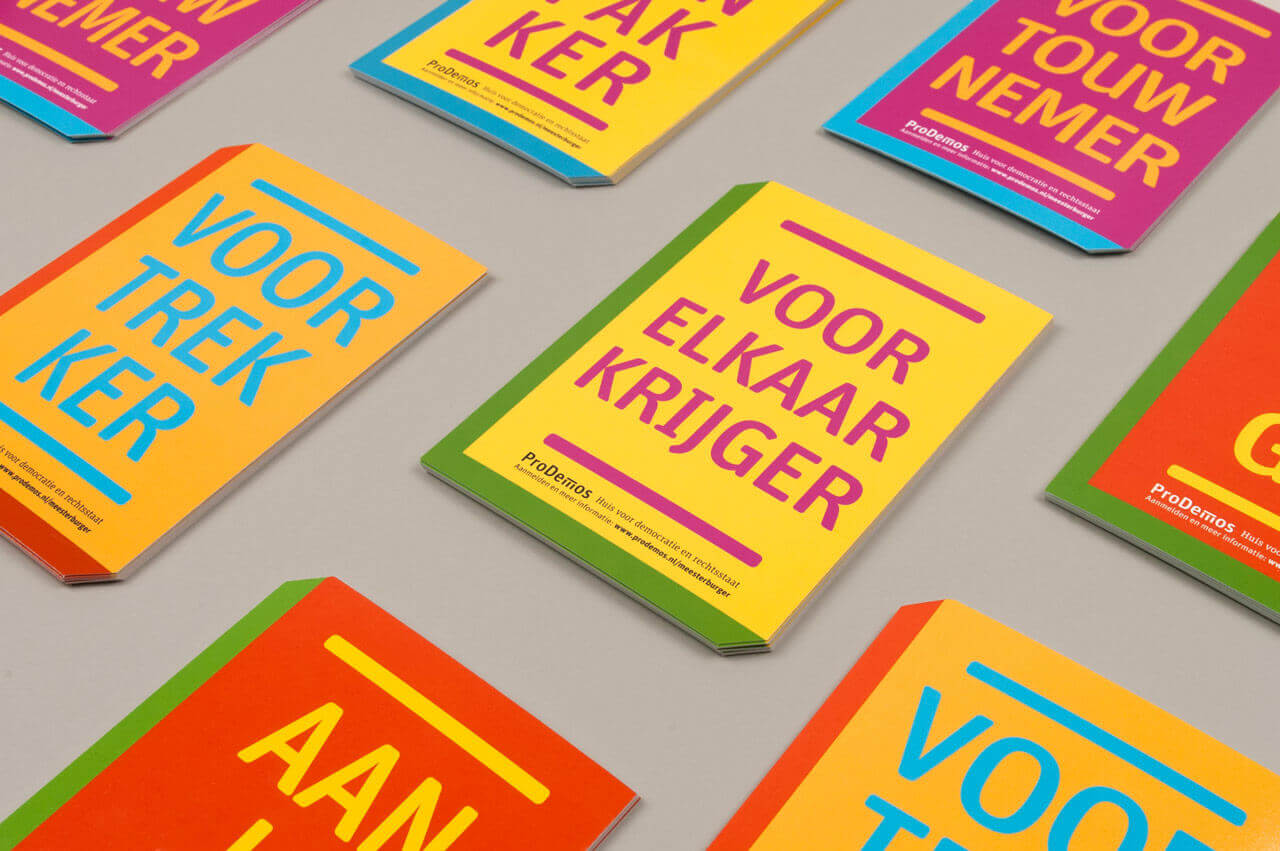 Studio Duel, ProDemos, Meester Burger, Meesterburger, Campagner, Drukwerk, Flyer
